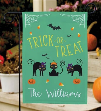 Personalized Trick or Treat Cats Garden Flag