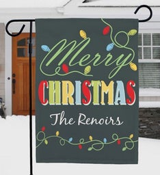 Personalized Christmas Lights Garden Flag