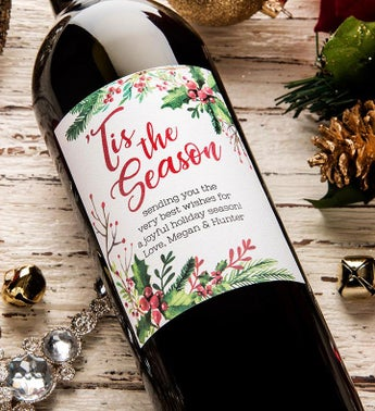 Tis The Season Personalized Labeled Wine