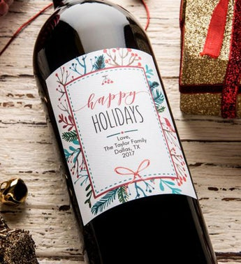 Personalized Happy Holidays Frame Labeled Wine