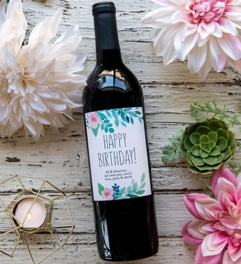 Personalized Pastel Flower Labeled Wine