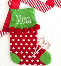 Personalized Red Dot Pom-Pom Knit Stocking