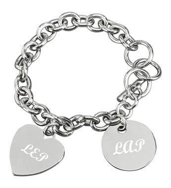 Personalized Heart  Disk Charm Bracelet