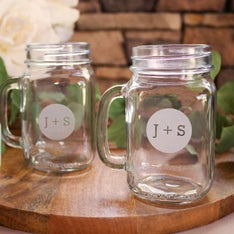 Personalized Circle Monogram Mason Jar Mug