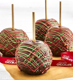 Simply Chocolate Holiday Caramel Apples 4ct