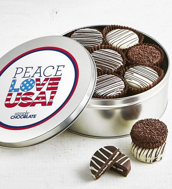 Simply Chocolate Peace Love USA OREO Tin