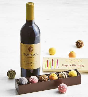 Godiva Birthday Truffle Flight Box  Cabernet Wine