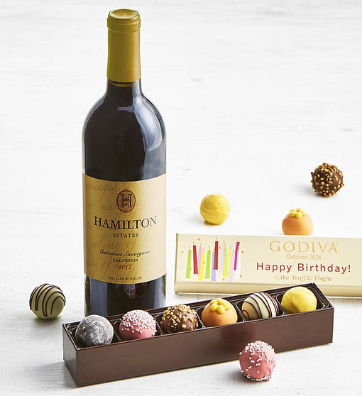 Godiva Birthday Truffle Flight Box & Cabernet Wine