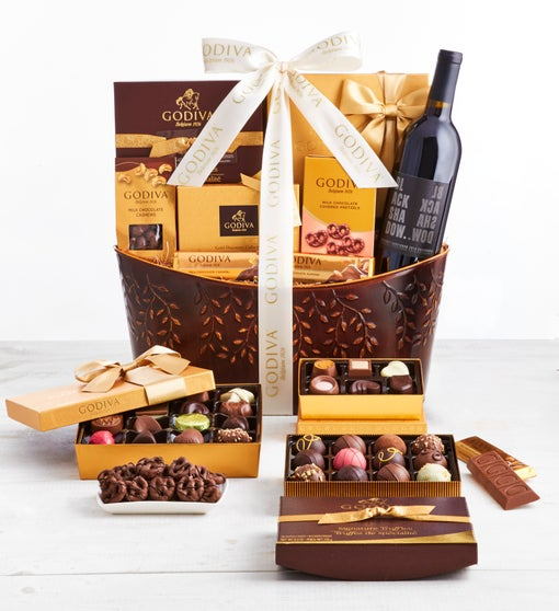 Exclusive Godiva Chocolates & Wine Basket