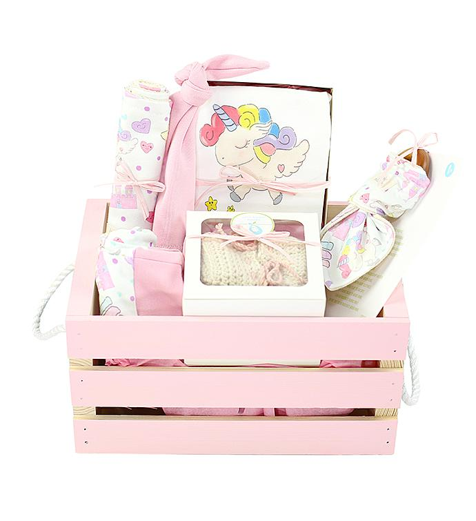Organics Gift Basket in Pink Enchanted Unicorn