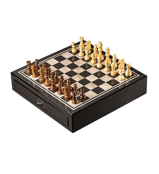 Carbon Fiber & Mother Of Pearl Chess Set