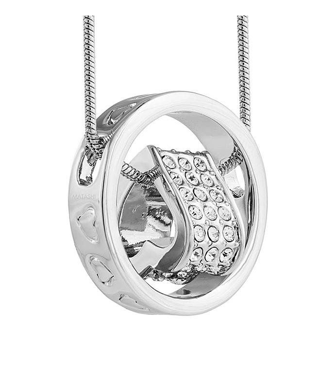 Rhodium Plated Necklace with Suspended 3D Heart