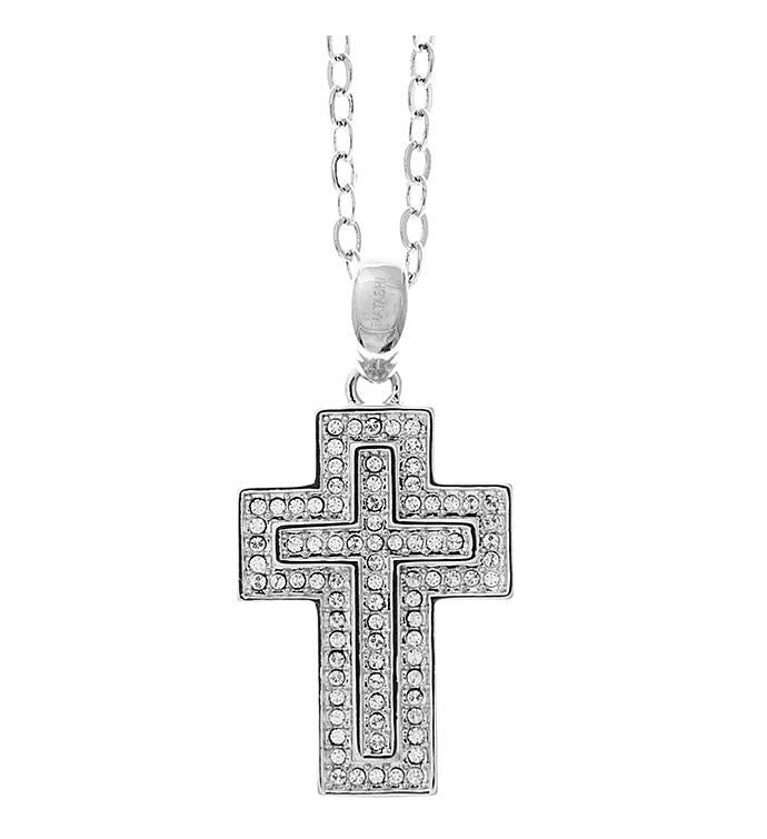 Encrusted Cross Design Necklace