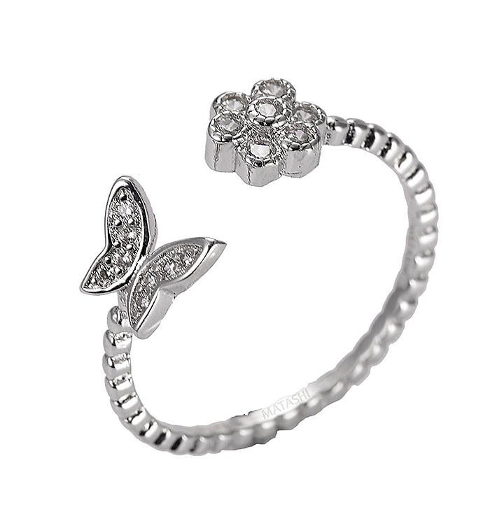 Flower Butterfly Zircon Open Ring Size 5