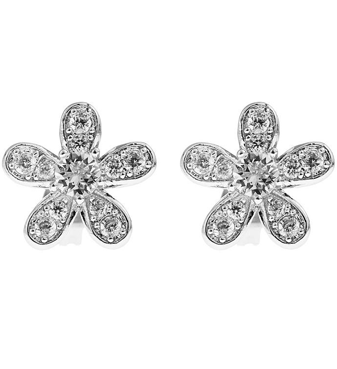 Flower Design White Gold Earrings