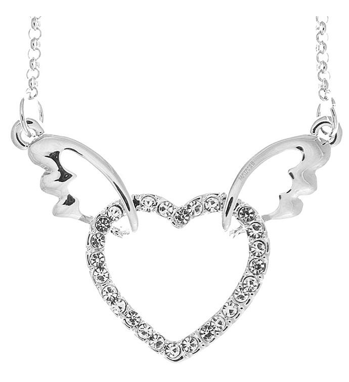 Winged Heart Necklace with Clear Crystal