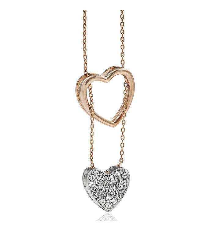 Rose & White Gold-Plated Heart Necklace