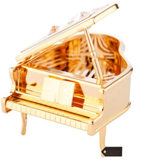 Gold Plated Crystal Studded Grand Piano Ornament