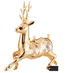 Gold Plated Crystal Reindeer Ornament