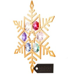 Gold Plated Crystal Studded Snowflake Ornament