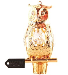 Gold Plated Crystal Studded Owl Ornament