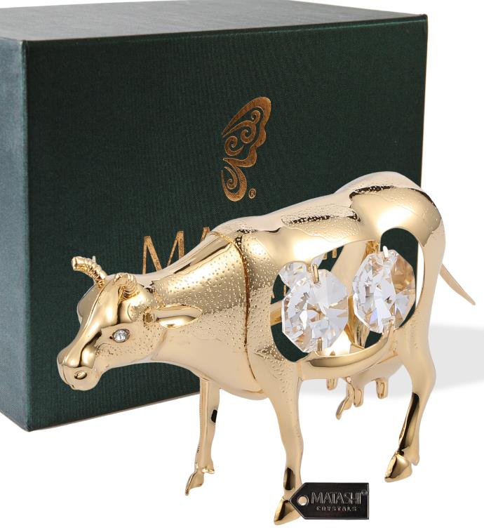 Gold Plated Crystal Studded Cow Figurine Ornament