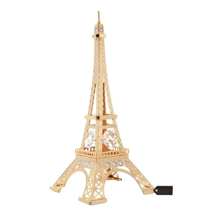 Gold Plated Crystal Studded Eiffel Tower Ornament