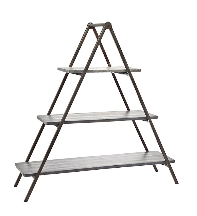 Grey Wash 3 Tier Wood  Metal