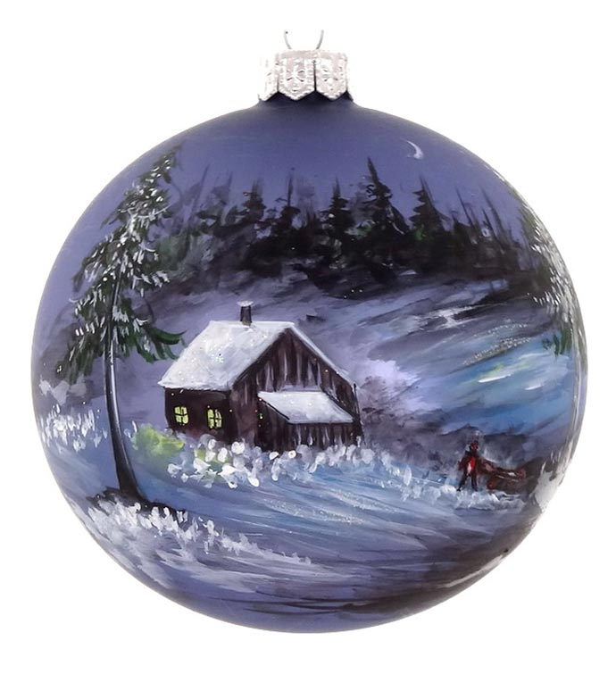 Snowy Cabin Hand Decorated Ornaments