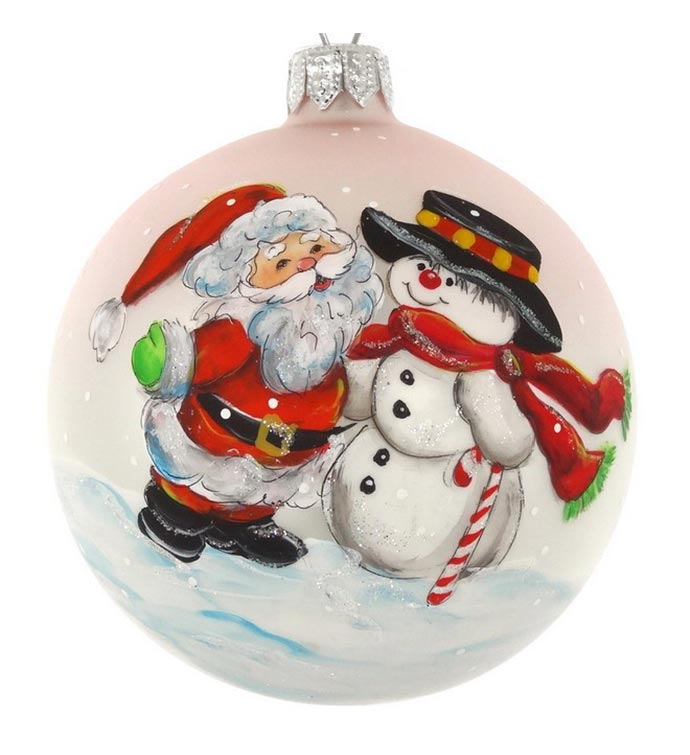 Hand Painted Santa and Snowman Ornament