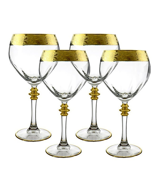4-PC Gold Trim Wine Glass Set
