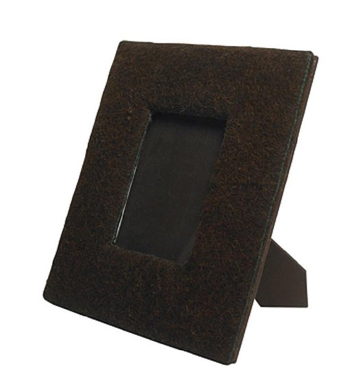 Felt Covered Frame in Chocolate with Green Stitching