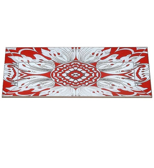 Handmade Reverse Painted Mirror Tray with Beveled Edge in Tomato Red - Small