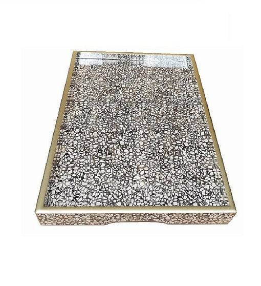 Handmade Reverse Painted Mirror Tray in Terrazzo - Medium