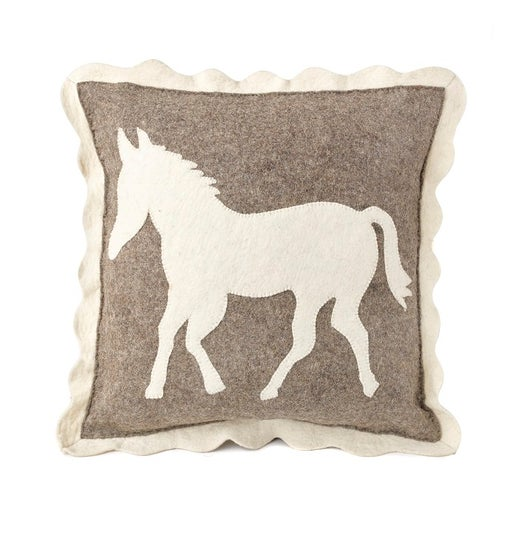 Handmade Cushion Cover in Hand Felted Wool - Horse on Gray - 20