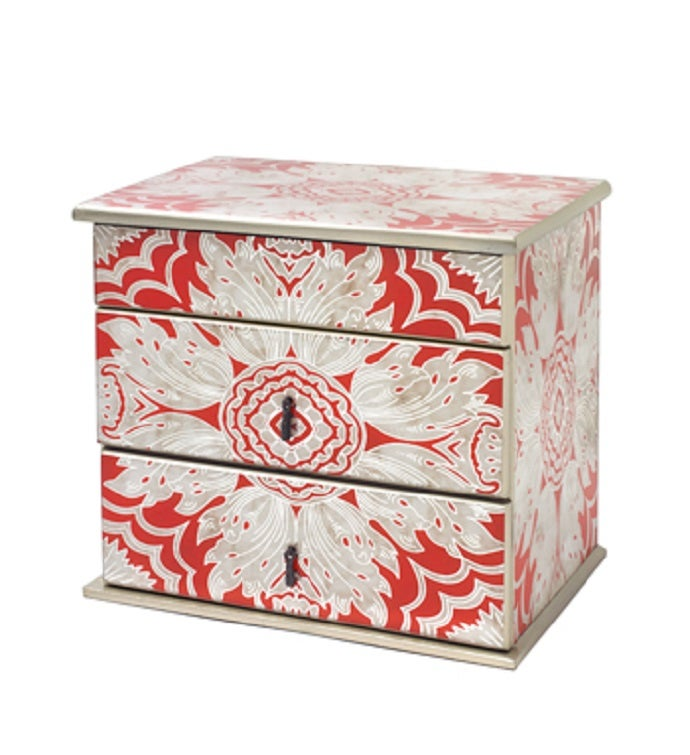 Handmade Reverse Painted Mirror Jewelry Box in Tomato Red