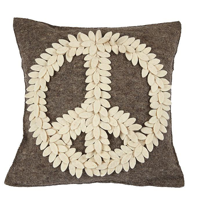Cream Peace Sign on Gray Pillow Cover