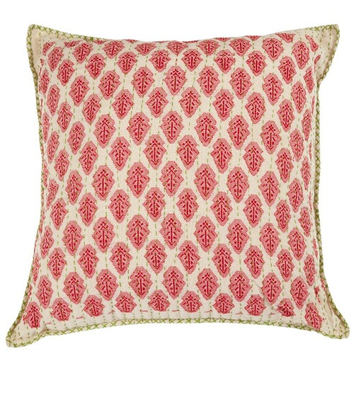 Artisan Hand Loomed Cotton Square Pillow - Red with Green Stitching - 24