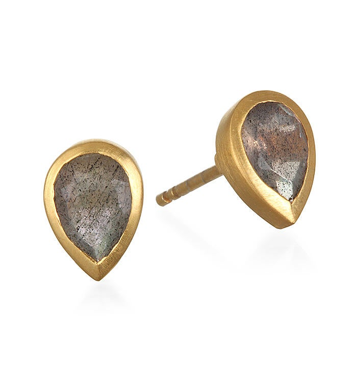 Labradorite Gold Stud Earrings