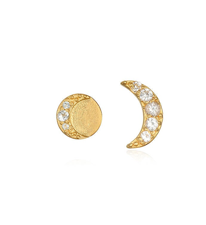 White Topaz Gold Moon Stud Earrings