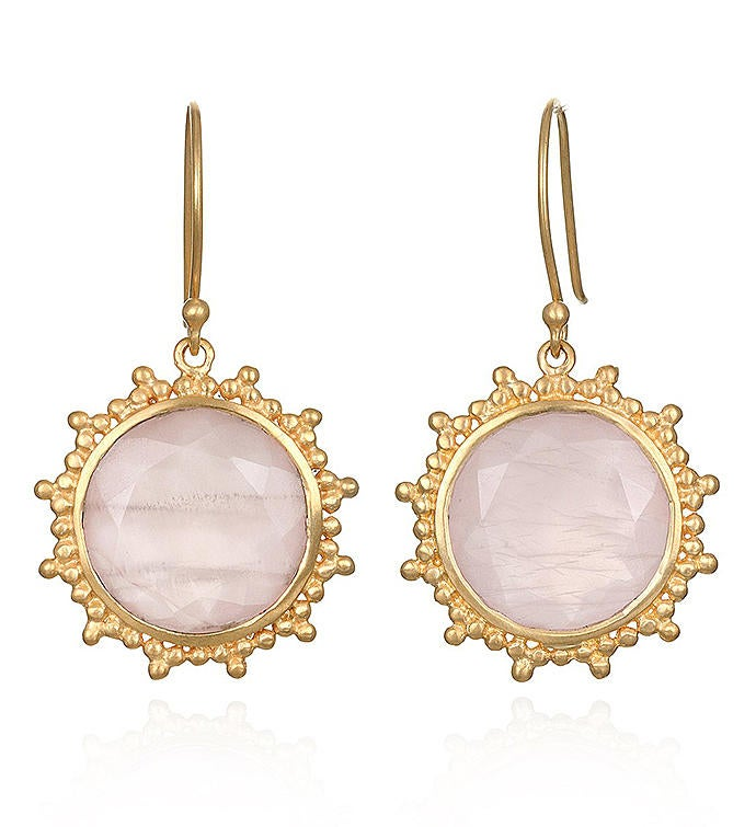 Rose Quartz Gold Earrings