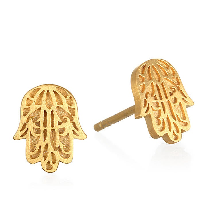 Gold Hamsa Stud Earrings