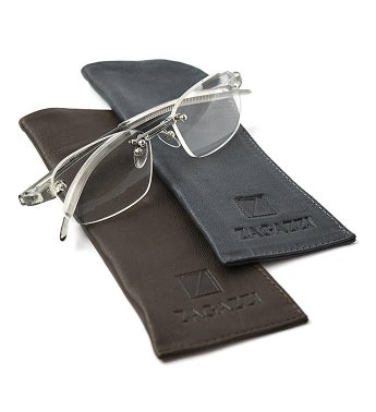 Leather Eyeglasses Case - Brown and Gray Kit