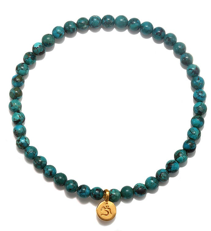 Turquoise Gold Mini Om Stretch Bracelet