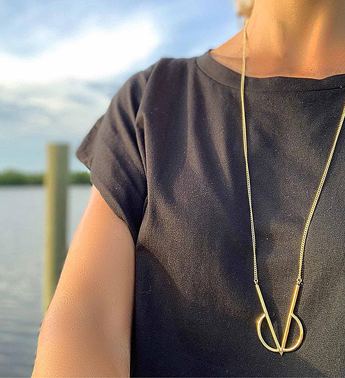 Handmade Long Brass Geometric Intersect Necklace