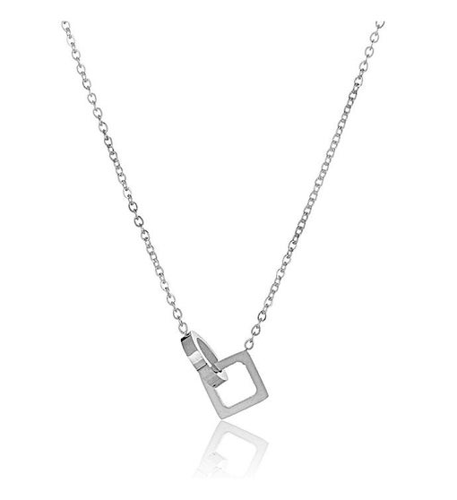 Intertwined Circle & Square Stainless Steel Pendant Necklace