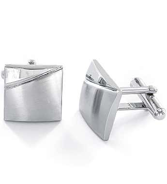 Brushed & High Polished Stainless Steel Cufflinks