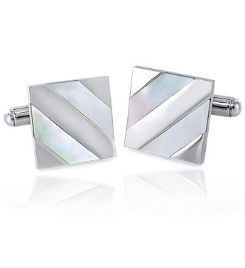 Polished Mother Of Pearl Inlay Square Cuff Links