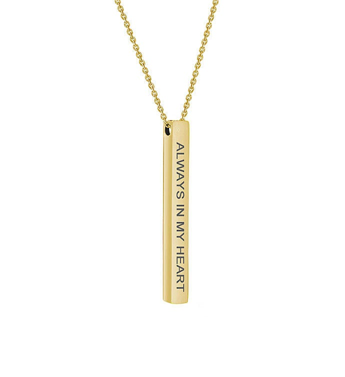 """Always In My Heart"" Bar Necklace"