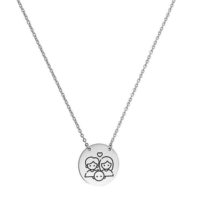 Anavia - Round Happy Family Stainless Steel Disc Necklace
